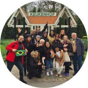 Grupo de turistas em Keukenhof