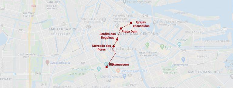 mapa com trajeto do tour andando